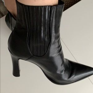 Casadei black leather chanel blade ankle boots 8
